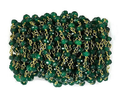 10 Feet Emerald Chalcedony 24k Gold Plated 3.5-4mm Gemstone Faceted Beads Bead