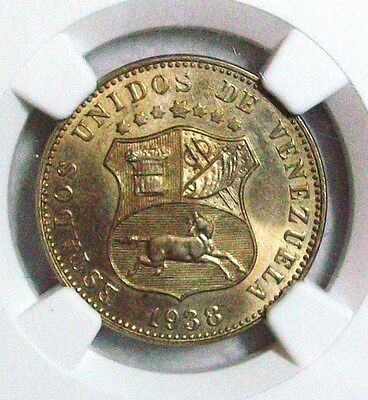 1938 Venezuela Republic Copper-Nickel 12-1/2 Ngc Ms-64 L@@k