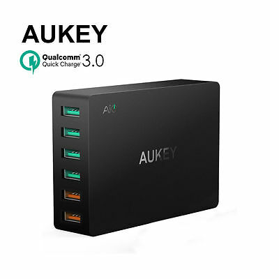 GENUINE AUKEY 6-Port USB Charger with Dual Quick Charge 3.0 Port for all