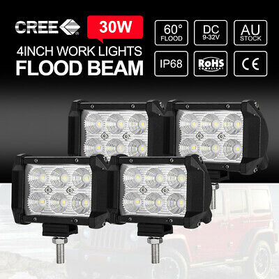 "4pcs 4"" inch 30W LED Work Lights Bar CREE FLOOD Off Road Reverse Boat 12V24V"