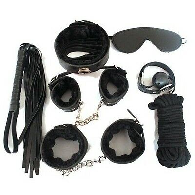Sex Toy Bondage Set Adult Cuffs Whip Ball Gag Rope Blindfold Collar