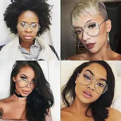Unisex Big Round Gold Metal Frame Clear lens Vintage Pilot Geek Fashion Glasses