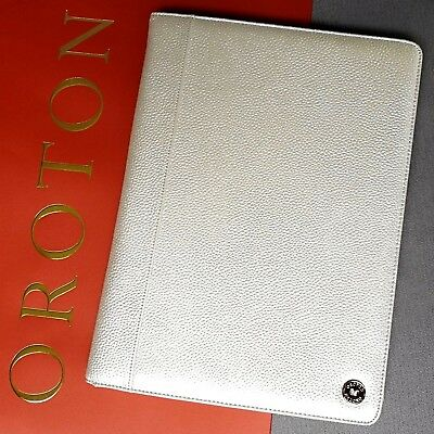 New Oroton Melanie A4 Folio Organiser Compendium Black Pebble Leather RRP$295