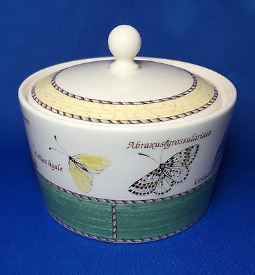 Wedgwood Sarah's Garden Sugar Bowl with Green Band / Butterflies - England