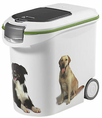12Kg Curver Dog Dry Food Container Storage Bin Box Scoop Rubber Seal 35L