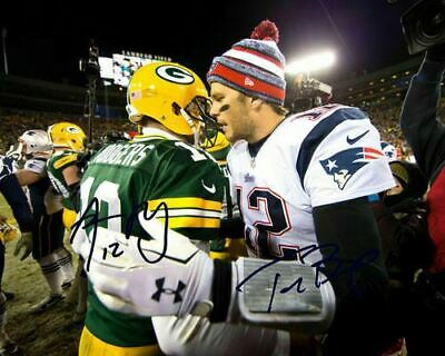 Tom Brady Aaron Rodgers QB Packers Patriots Signed Photo Autograph Reprint