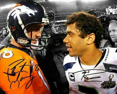 Peyton Manning Russell Wilson Broncos Seahawks Signed Photo Autograph Reprint