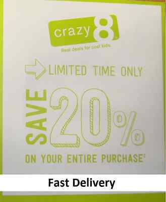 Crazy 8 ---( 20% OFF )--- Your Entire Crazy8 Purchase -- Code Expires 2/9/2017