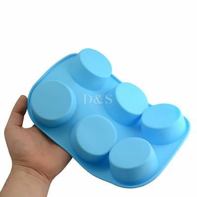 Pudding Muffin Cup Cake Candy Pastry Soap Wax Silicone Baking Mold Pan Tray 6Cav
