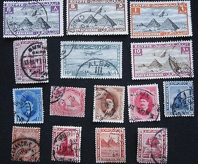15  Egypt  Stamps  From  Old  Album