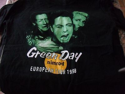 GREEN DAY Nimrod Album Band Tour T Shirt Black XL 1998 Extra Large Gently Used