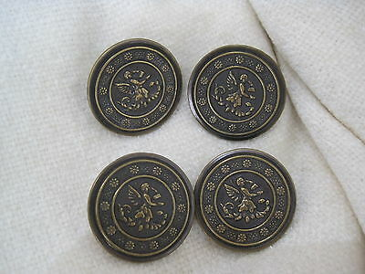 Antique Brass Button Detailed Angel Picture button x  4 buttons