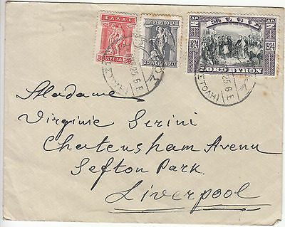 Greece: Old Cover to Liverpool, 2 April 1925