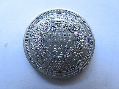 1944 L INDIA SILVER 1/2 RUPEE in VERY GOOD CONDITION KING GEORGE VI