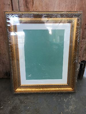 """20""""x16"""" ornate gold wooden frame with bevel cut mount"""
