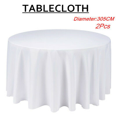 "2 X 120""  White Round Table Cloth Polyester TableCloth Wedding Party Banquet"