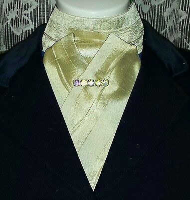 Pre tied ready tied beige patterned satin stock Clearance