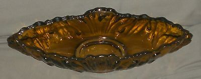 Very Nice Vintage Jeannette Glass Amber Painted Shell Pattern Gondola Bowl