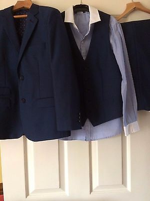 Boy's Navy 3 Piece Suit & Shirt - Age 9 to 10