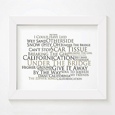 `Platinum` RED HOT CHILI PEPPERS Art Print Typography Song Lyrics Signed Poster