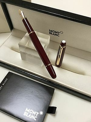 Montblanc Meisterstuck 144R Burgundy Bordeaux Fountain Pen With 14K F= Fine Nib