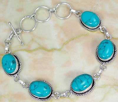 Turquoise & 925 Silver Handmade Beautiful Bracelet 220mm OR-10244