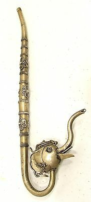 Antique Thailand Elephant Silvered Pipe
