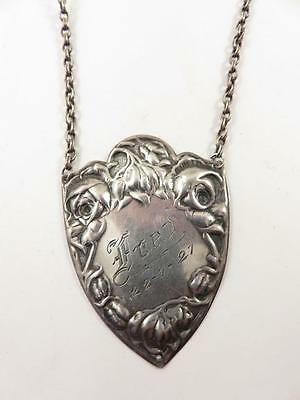 830 Silver 1920S Norway Coat Shield Rose Trimmed Pendant Necklace