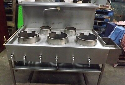 Commercial All Stainless Steel 5 Burner Chinese Wok Cooker