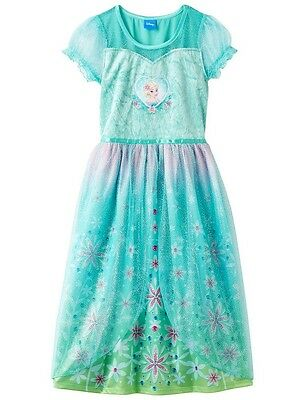NWT Disney Frozen Fever Elsa Dress-Up Nightgown Girls Sizes 8, 10