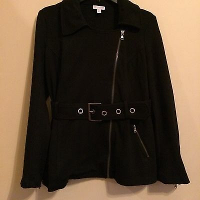 A Pea in the Pod Maternity Belted Jacket Offset Front Zip ~ Black ~ Small ~ EUC