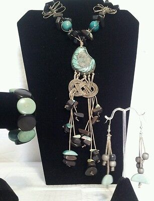 Brown and Baby Green Tagua Necklace,Earrings & Bracelet Set from Ecuador