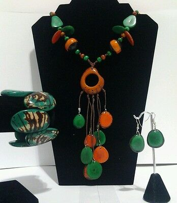 Orange and Green Tagua Necklace,Earrings & Bracelet Set from Ecuador