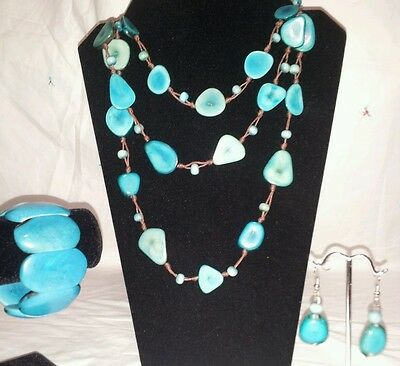 Baby Blue Tagua Necklace, Earrings and Bracelet Set from Ecuador