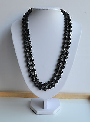 HUGE 1880s ANTIQUE VICTORIAN BLACK WHITBY JET MOURNING NECKLACE HAND CARVED 52''