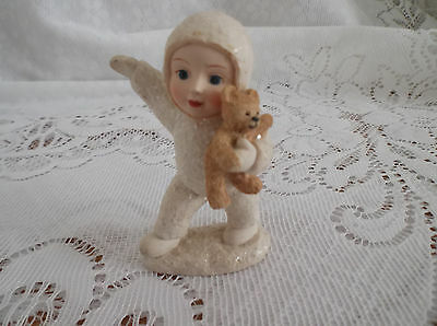 Vintage Snowbaby Holding Teddy Immaculate
