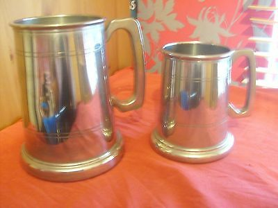 Two Vintage Pewter Tankards Glass Bottom With Lion On