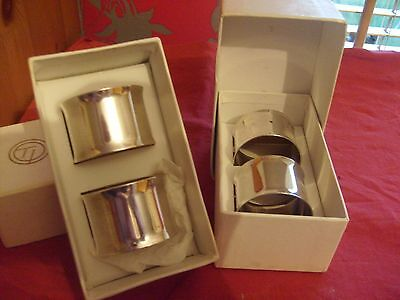 Set Of 4 Boxed Vintage Stainless Steel Or Silver Plate Napkin Rings