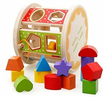 IPuzzle Geometrical Rolling Pull Along Wooden Shape Sorter Toy Set For Kids And