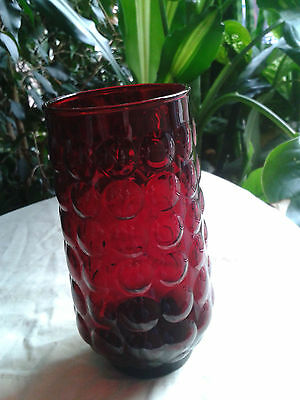 Ruby Red Glass Bubble Vase Anchor Hocking