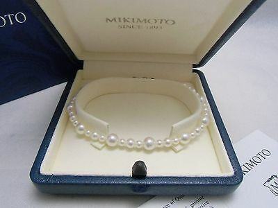 """NEW! Mikimoto Akoya Pearl 5MM~3MM Pearl Strand Bracelet Silver Clasp 7.4"""" GIFT"""
