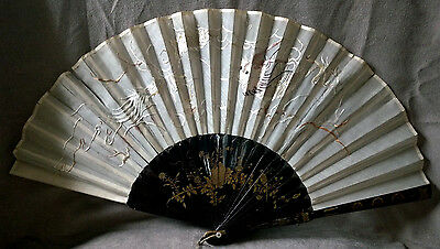 ANTIQUE CHINESE Lacquered Hand Painted STICKS FAN EMBROIDERED DRAGON SILK