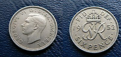 1952 GEORGE VI key date SIXPENCE - nice grade coin