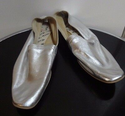 Kraus Dead Stock Vintage Dance Shoes Hand Lasted Silver Leather 10 Women's Flats