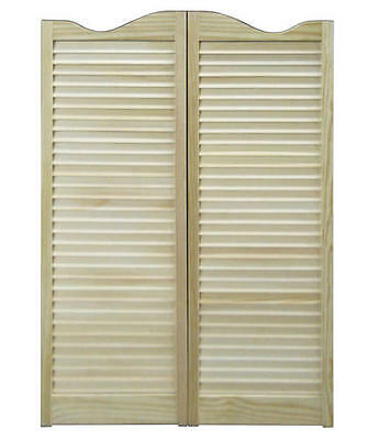 """CAFE DOORS 36""""x42"""" Pine Swinging Saloon Wooden Western Tavern Louvered FREE SHIP"""