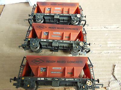 3 Hornby R6154 Pga Aggregate Hooper Wagon Rmc Concrete Red Used Not Boxed   90