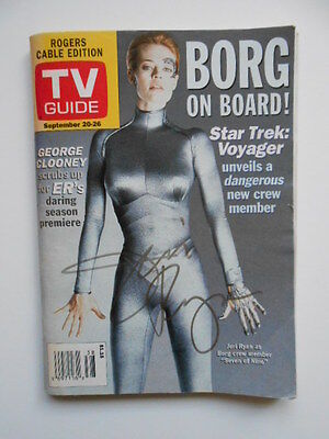 Star Trek Voyager 7 of 9 signed in personTV guide w/ Fanexpo COA