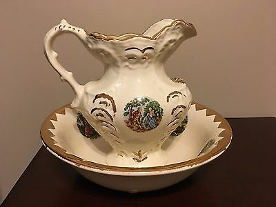Antique Porcelain Wash Basin (Courting Couple) Bowl & Pitcher with Gold Trim