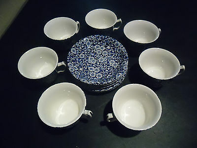 Set Of 7 Vintage Staffordshire Calico Blue Burleigh flat Cups & Saucers sets