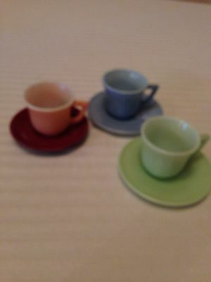 Opaque Glass Cups And Saucers Set Of 3